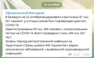 Скриншот сообщения из Т-канала Минздрава